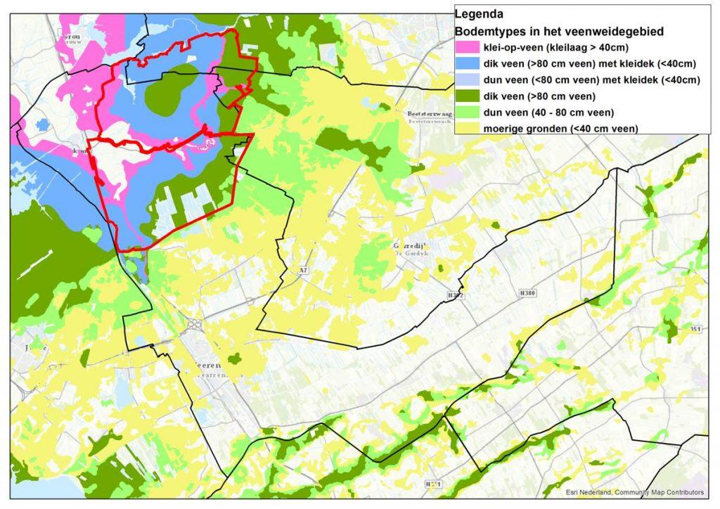 Bodemkaart bodemtypes in het veenweidegebied